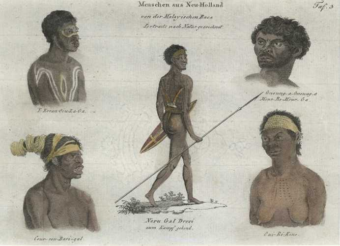 Native of Australia. Menschen aus Neu-Holland antique print c1815.