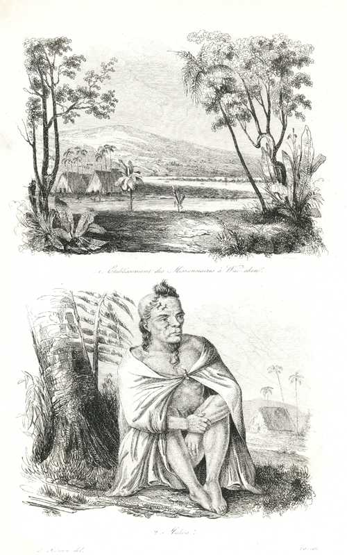 Hawaii. Missionaries at Wai-akea. Makoa (fearless warrior). D'Urville c1834