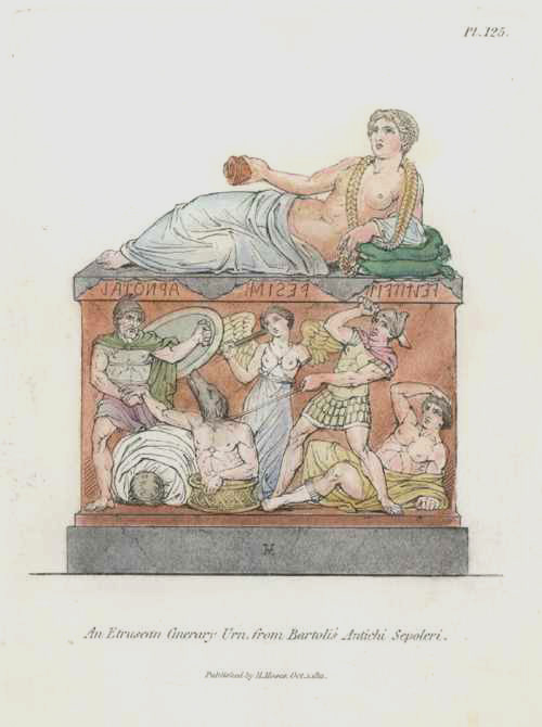 Etruscan Cinerary Urn engraved by Henry Moses c1811