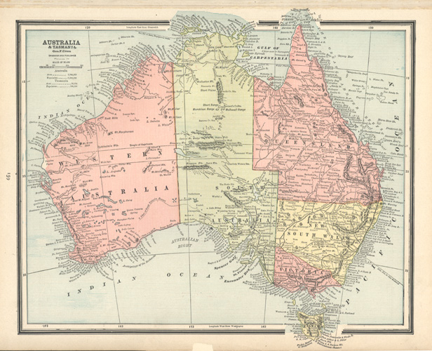 50%-off antique map of Australia by George Cram c1890.