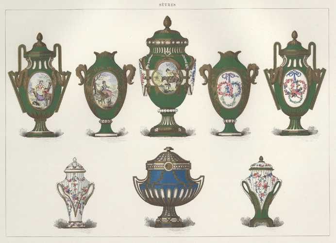 Sevres Porcelain lithograph c1890 of 8 lidded Vases: 5 in Green, 2 white, 1 blue.