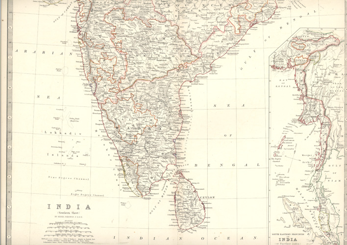 India (Southern Sheet) antique map by Keith Johnston FRSE. Blackwood, c1861