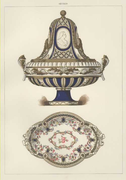 Sevres Porcelain Marie-Therese medallioned Festooned Vase, & Tray antique print c1890.