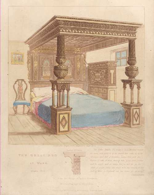 The Great Bed of Ware antique print, c1836.