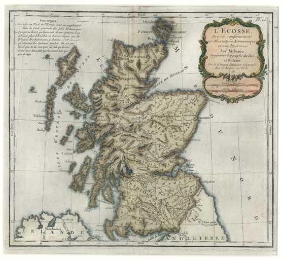 Scotland Antique Map by LaTour for Desnos c1766.