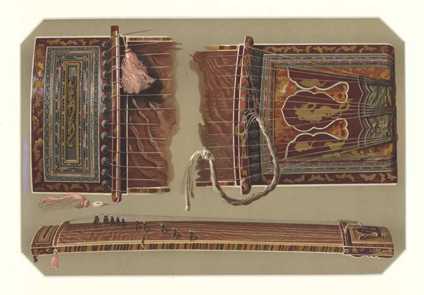 Japanese Sono Koto. Hipkins musical instruments antique print c1888.