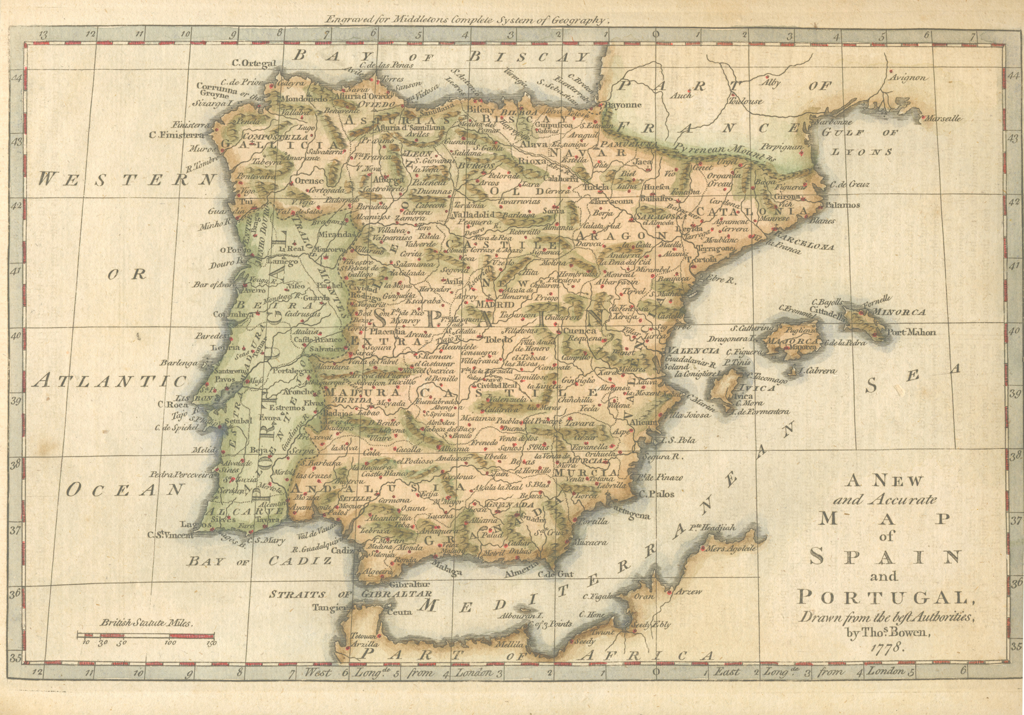 A New and Accurate Map of Spain and Portugal. Bowen c1778.
