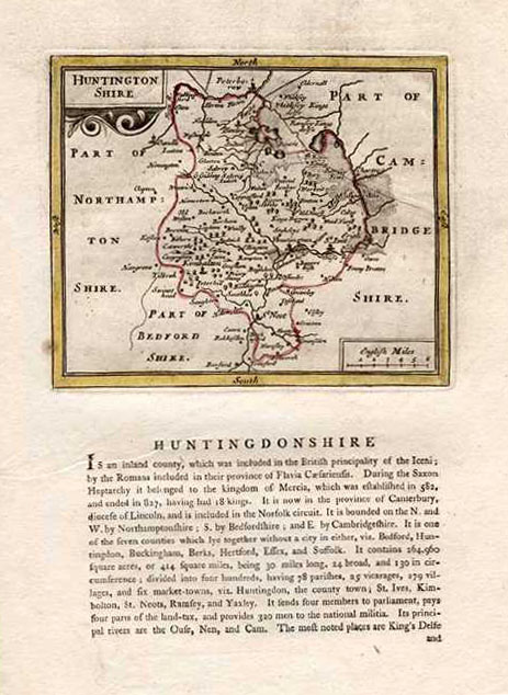 Half-Price 18th century antique map of Huntingdonshire. Seller, c1787