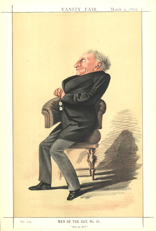 """Not an MP."" Alexander Kinglake, Vanity Fair caricature c1872."