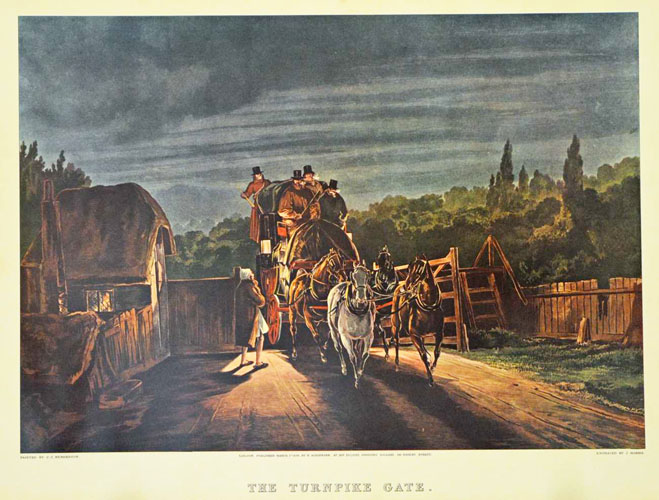 The Turnpike Gate, coaching scene. Large reproduction print.