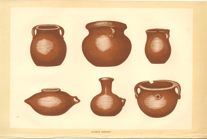 Ancient Pottery of North American Indians. Antique print c1860.