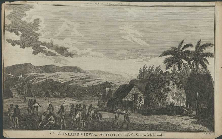 Hawaii. Inland View in Atooi (Kauii), Sandwich Islands. Cook c1780