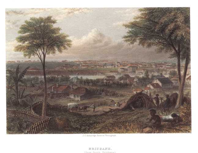 Brisbane (from South Brisbane). Armytage view from 1874 pair of engravings.