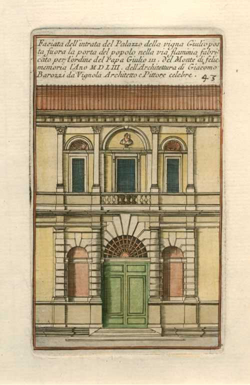Facade of Palazzo Entrance. Barozzi architectural elevation c1764