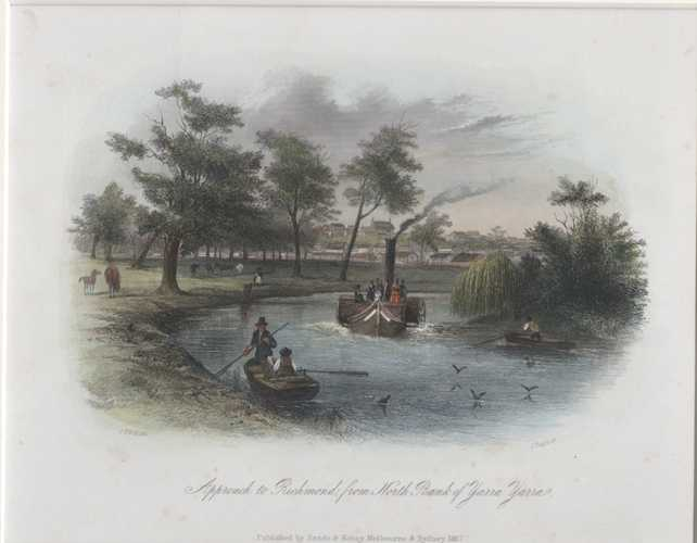 Victoria STGill Melbourne Approach to Richmond, from North Bank of Yarra Yarra Antique Print c1857