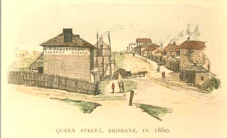 Queen Street, Brisbane in 1860. Engraving c1886