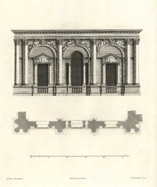 Inigo Jones Architecture. Beautiful classical elevation & floor-plan c1725