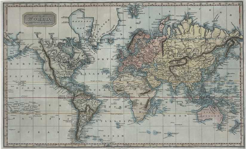 Antique Map of The World on Mercator's Projection. Findlay & Kelly c1837