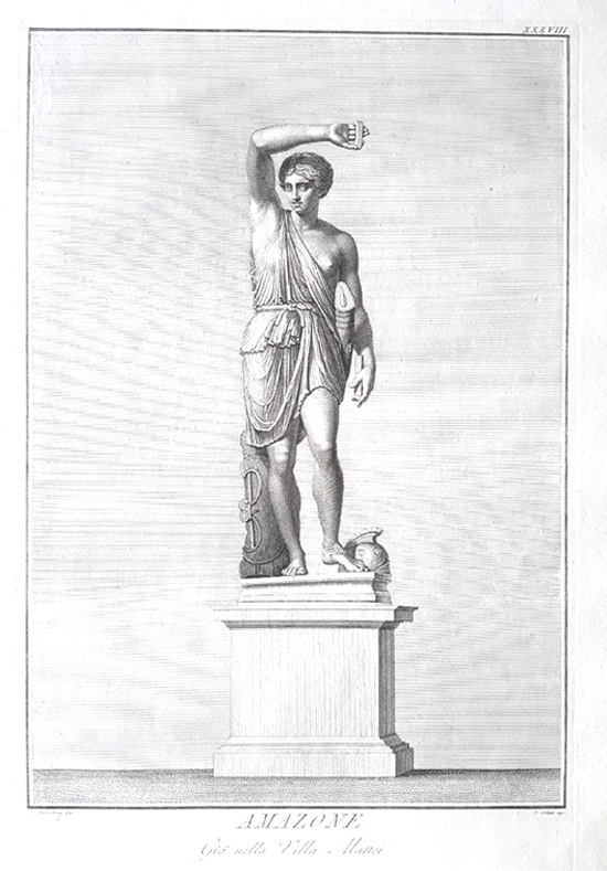 Amazone (Amazon) classical statue engraving. Dolcibene for Visconti, c1784