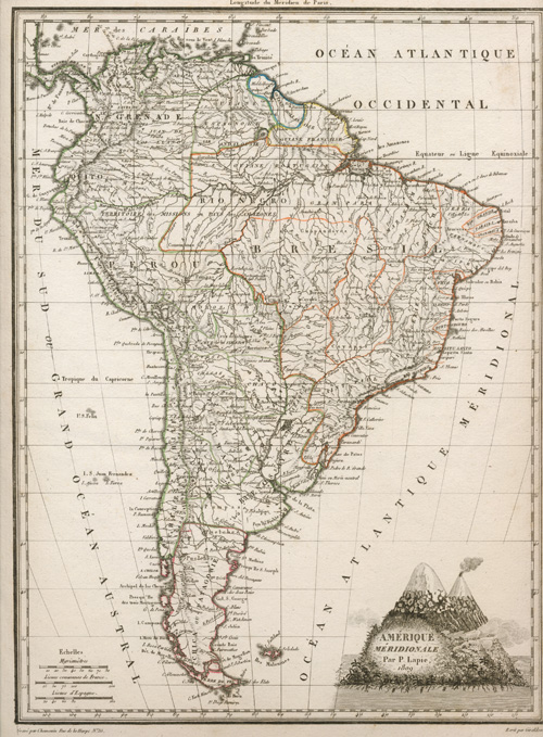 South America antique map. Amerique Méridionale Par P. Lapie, 1809.