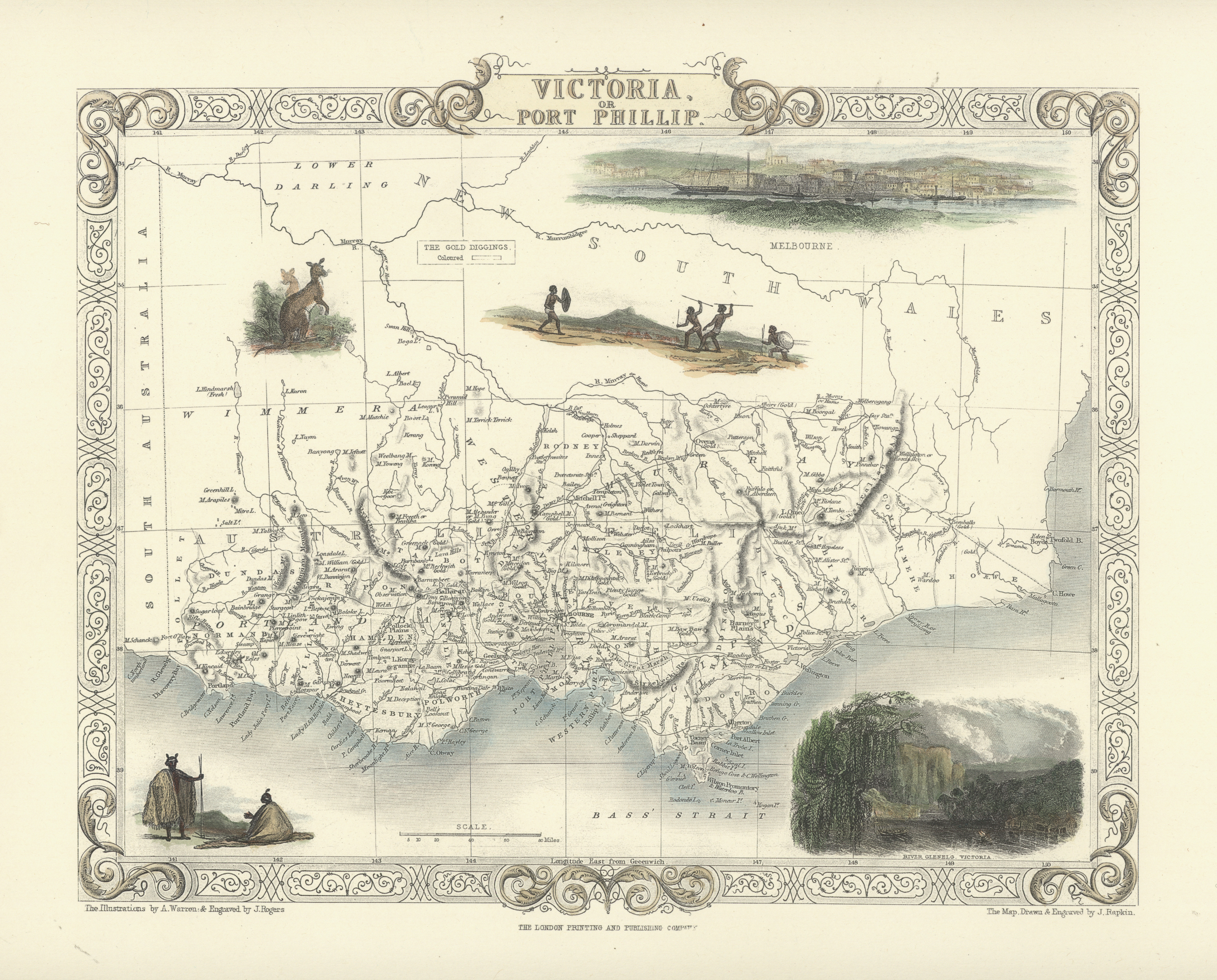Tallis Victoria. Port Phillip decorative Heritage Edition map from c1851