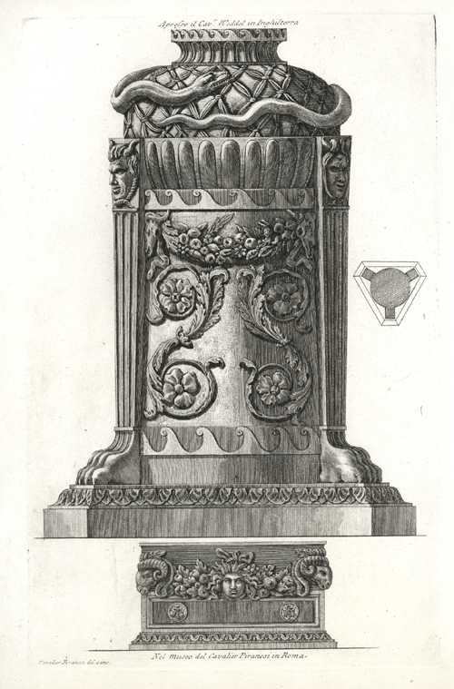 Grand Piranesi classical urn etching c1773, from the Piranesi Museum in Rome