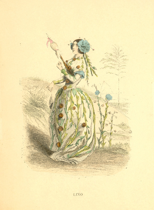 Linen flower-lady with spindle. Grandville, Lino engraving c1902.