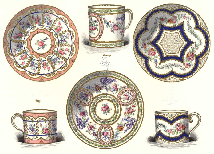 Sevres antique print Porcelain Caree Cups & Saucers. c1890