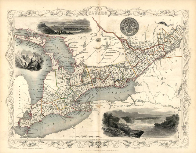 West Canada: The Great Lakes. J&F Tallis map c1850.