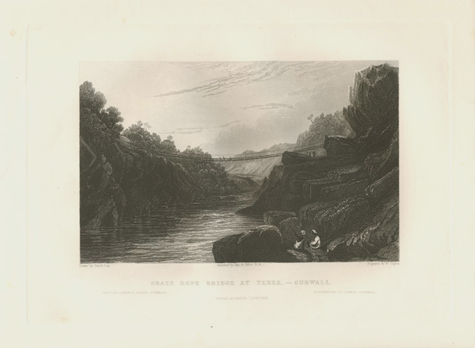Grass Rope Bridge at Teres,- Gurwall. Antique print c1835.