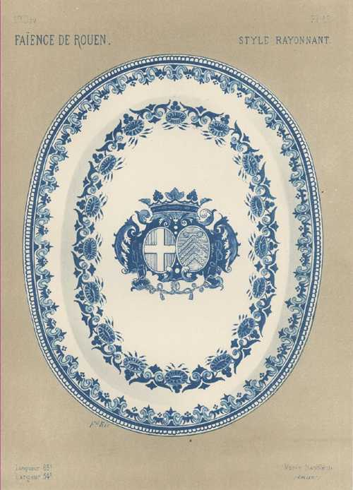 Blue & White Faience with Coat of Arms c1700. Lithograph c1870.