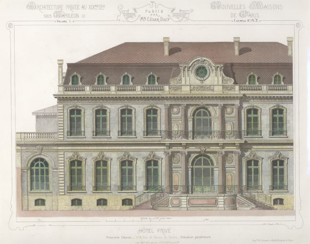 Cesar Daly. French Private Hotel Grand Facade. Engraving c1864.