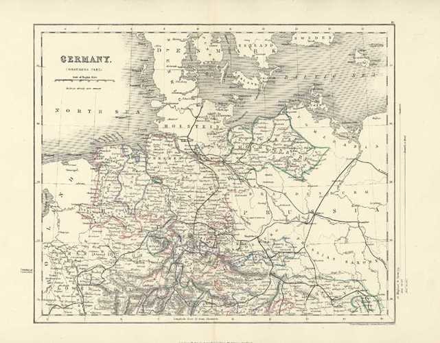 Germany Northern Part. Antique Map by J. Archer c1836.