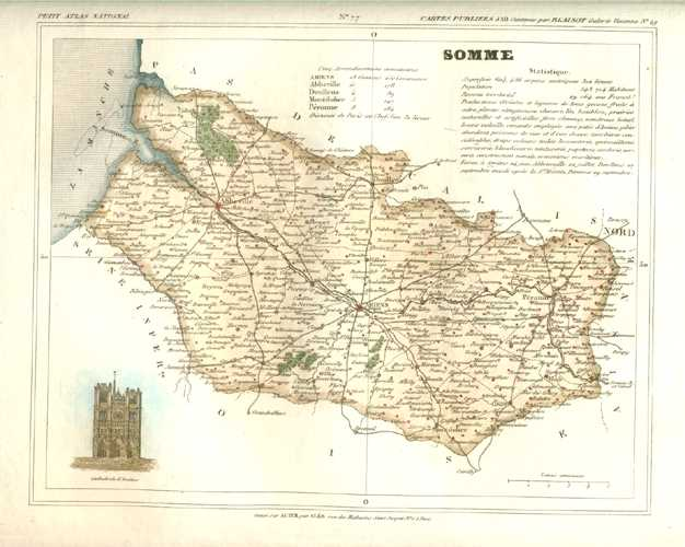 Somme Department, Picardy (Picardie) France Antique Map. Monin c1833