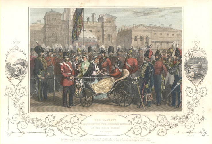 Crimea. Her Majesty distributing the Crimean Medals. Tallis c1854