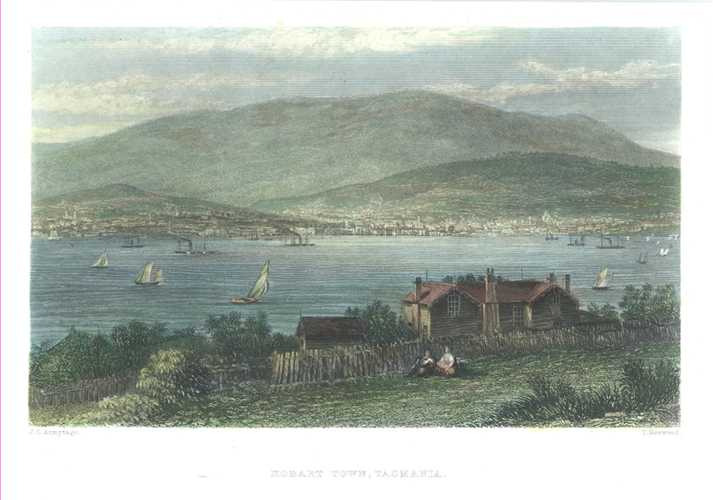 Hobart Town, Tasmania, Derwent Estuary, Mt.Wellington. Antique print c1874