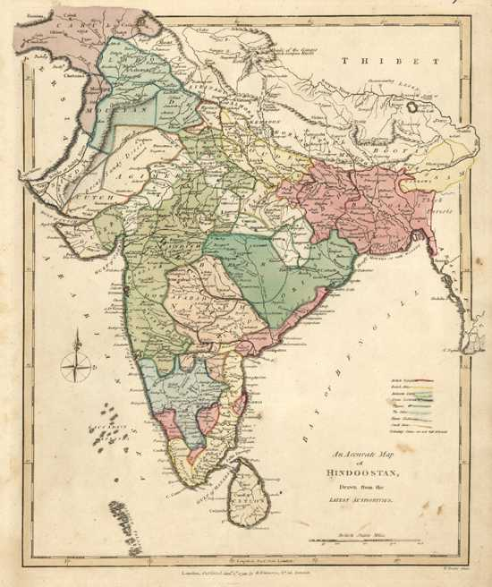 India Antique Map. Hindoostan drawn from the latest authorities. R. Wilkinson c1794