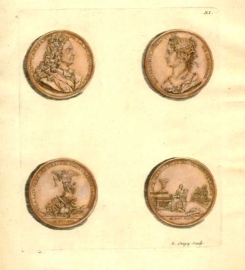 Ancient Commemorative Coins. Hand-coloured Crepy engraving for Tissot c1755. Plate 11