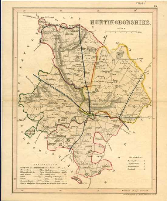 Huntingdonshire county Antique Map with railways by J. Archer c1860