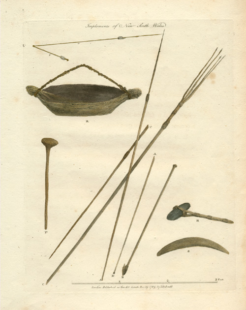 Implements of New South Wales Aborigines. Antique print c1789