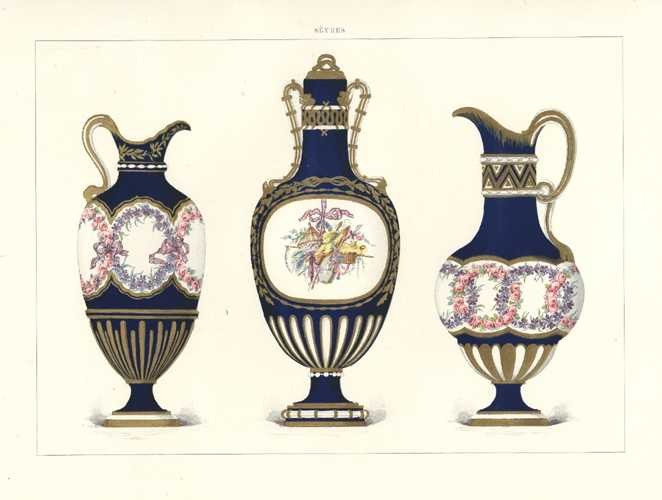 Jewelled Sevres Porcelain Vases painted with garlands. Antique lithograph c1890