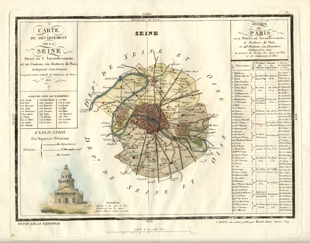 Seine antique map, Paris with arrondisements. Monin 1833