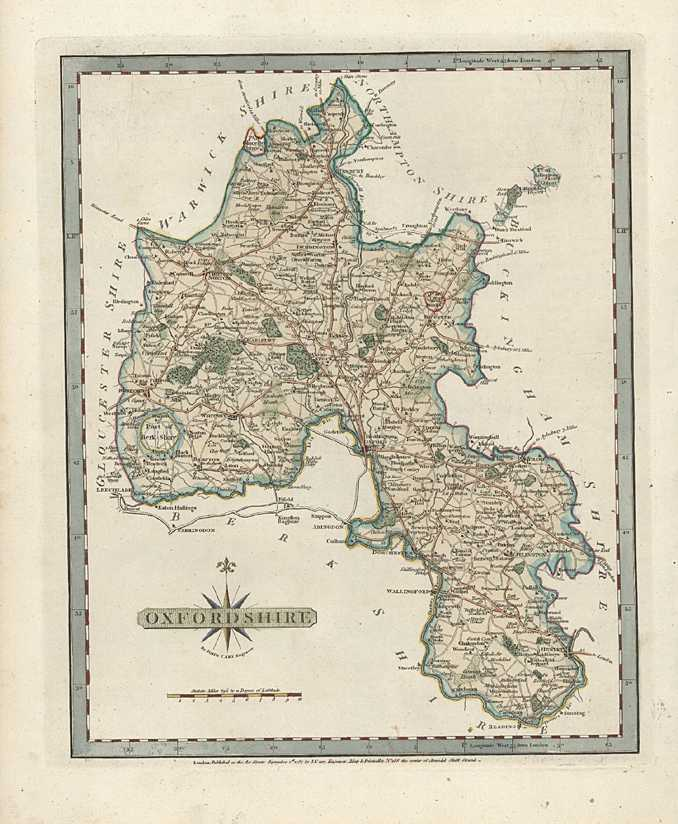 Oxfordshire Antique Map. County Map of Oxfordshire. Cary  c1787