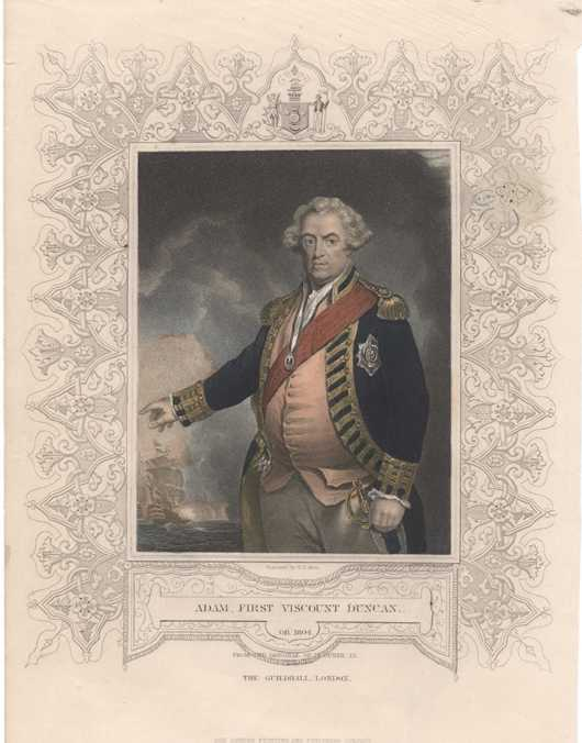 Naval Portrait Antique Print of Adam, First Viscount Duncan. c1853