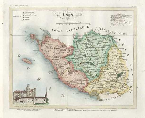 Map Of France Vendee.Antique Print Club Vendee Department Pays De La Loire France