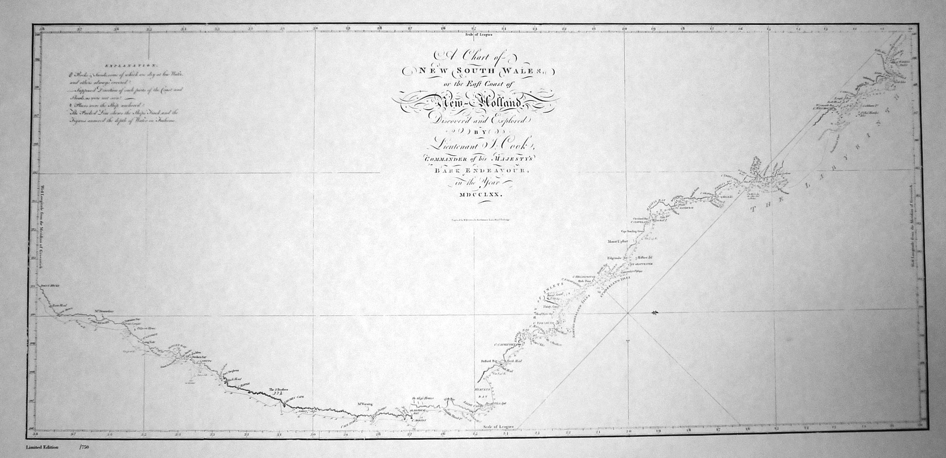 Captain Cook Australia East Coast Heritage Editions map (c1770).