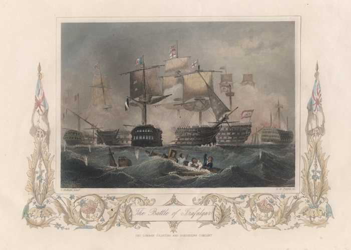 Tallis engraving. The Battle of Trafalgar. Superb engraving c1856