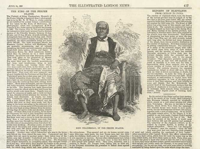 Fiji. King Thackembau of the Feejee Islands. Engraving c1869
