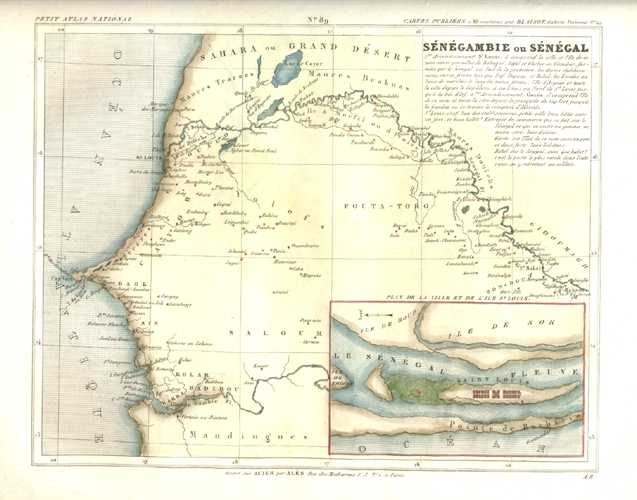 Senegambie ou Senegal Antique Map by Charles Monin c1833.