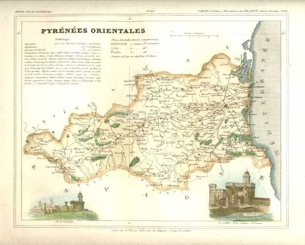 Pyrenees-Orientales Department, Languedoc, France Antique Map. Monin c1833